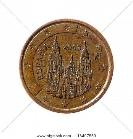 Metal Coins One Eurocent Spain  Isolated On White Background. Top View