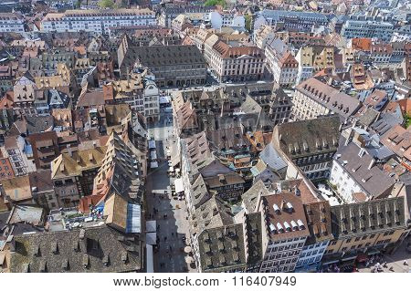 Aerial View Of Strasbourg Old Town, Alsace, France