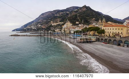 Panoramic View Of Amalfi Seacoast In Winter, Italy