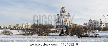Yekaterinburg Cityscape To Rastorguevs House and Cathedral In Winter