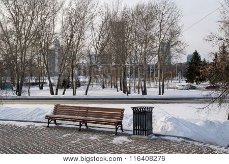 Bench And Yekaterinburg Citiscape To Iset Tower In Winter