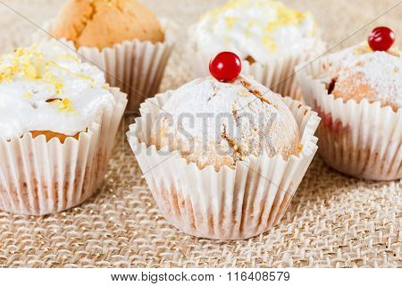 Muffins With Cranberries And Lemon Zest, Closeup