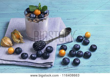 Glass Of Yogurt, Muesli, Mint, Blueberries