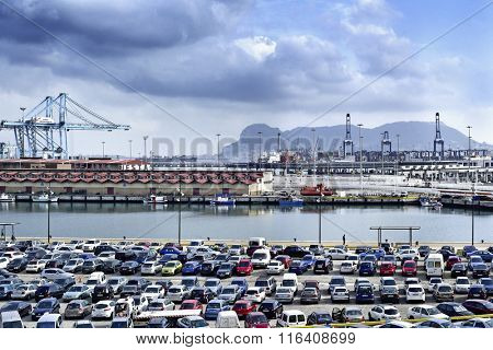 ALGECIRAS, SPAIN - DECEMBER 28: A panoramic view of the port of Algeciras, Spain, on December 28, 2015 and the Rock of Gibraltar in the background. This is the seventh busiest container port of Europe