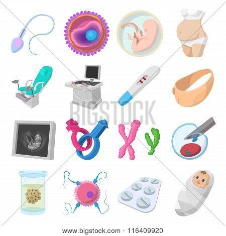Pregnancy cartoon icons set