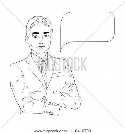 Vector illustration of speaking business man