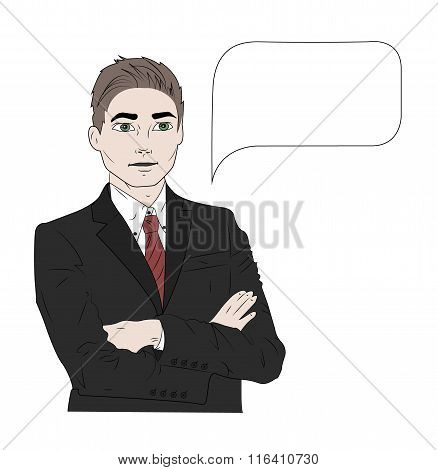 Vector illustration of speaking business man in color