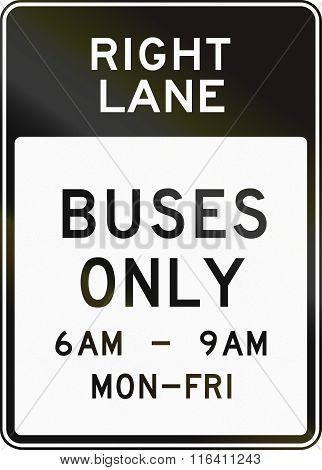 United States Mutcd Regulatory Road Sign - Bus Lane With Special Permissions