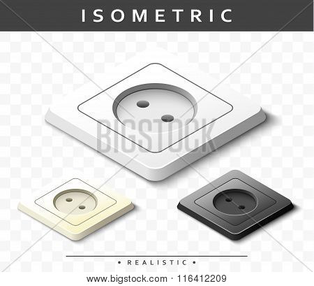 Set of realistic electric outlets in isometric view. Isolated sockets