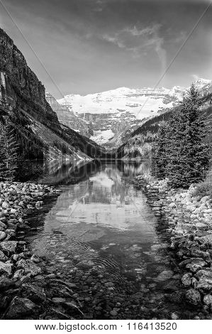 Scenic View With Reflections In Lake Louise