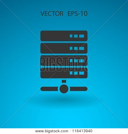 Flat long shadow Computer Server icon, vector illustration
