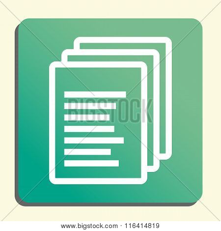 File White Icon On Green Button Style Background