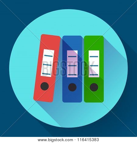 Row of binders flat icon