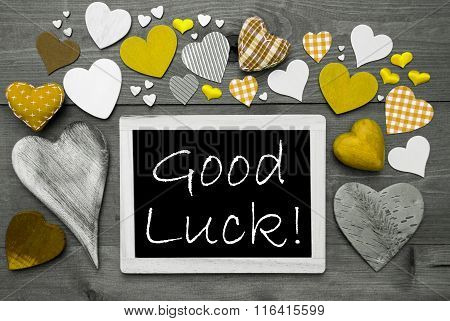 Black And White Chalkbord, Many Yellow Hearts, Good Luck