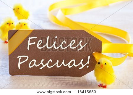 Label With Chicks, Text Felices Pascuas Means Happy Easter