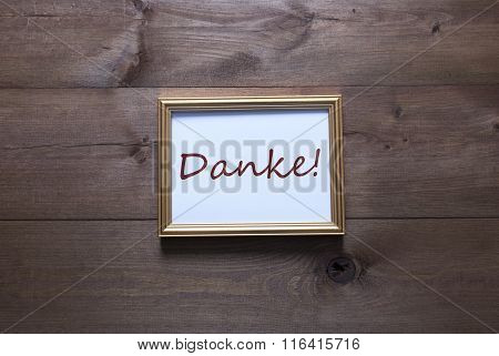 Golden Picture Frame With Copy Space Danke Mean Thank You