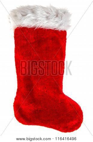 Red Christmas Stocking. Decoration Object. Winter Holidays Symbol