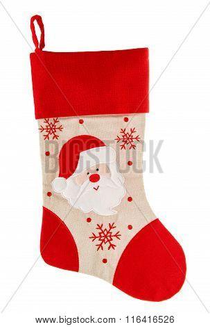 Christmas Stocking. Red Sock. Santa Claus And Snowflakes