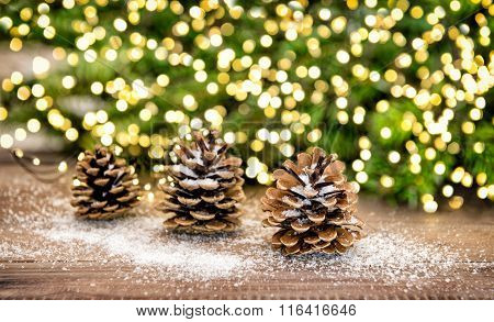 Pine Cone And Christmas Tree Branches With Lights Decoration