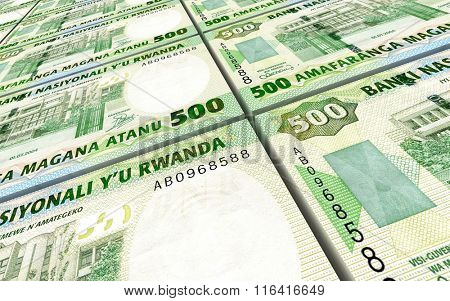 Rwandan francs bills stacked background. Computer generated 3D photo rendering.
