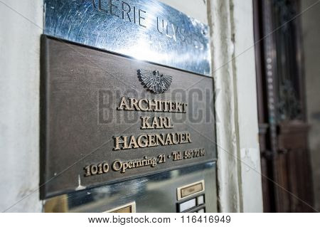 Architekt Karl Hagenauer Plate On The Entrance