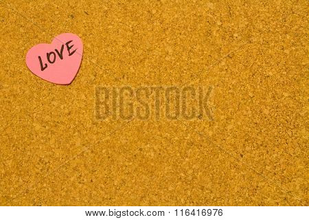 Corkboard With Pink Heart