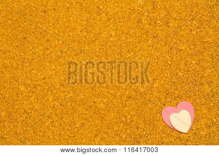 Corkboard With Pink Andwhite Heart Shapes