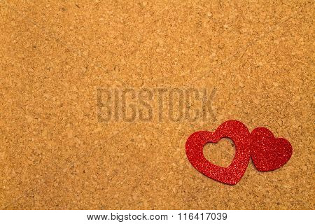 Corkboard with  Heart Shapes
