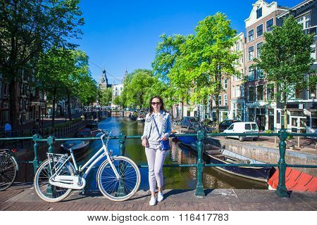 Young woman enjoy european vacation in Amsterdam