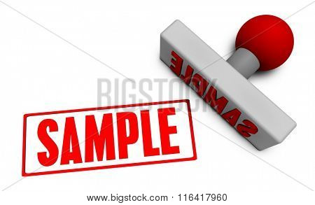 Sample Stamp or Chop on Paper Concept in 3d