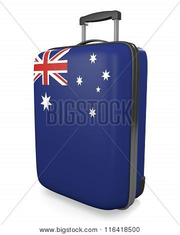 Australia vacation destination concept of a flag painted travel suitcase