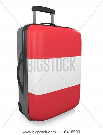 Austria vacation destination concept of a flag painted travel suitcase