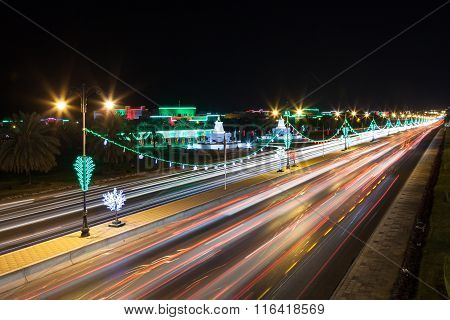 Highway In Muscat At Night, Oman