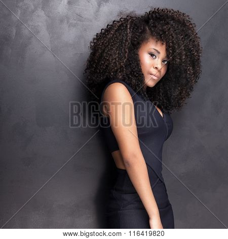 Young African American Girl Posing In Studio.