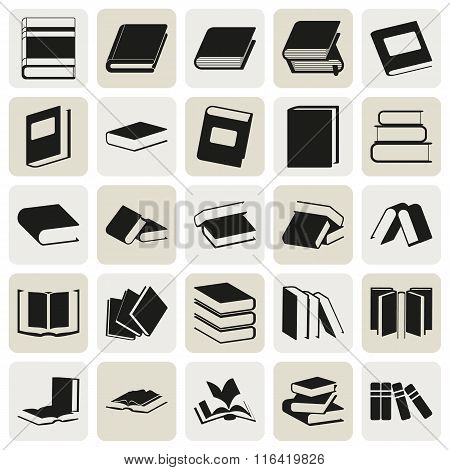 Black Book Simple Icons Set