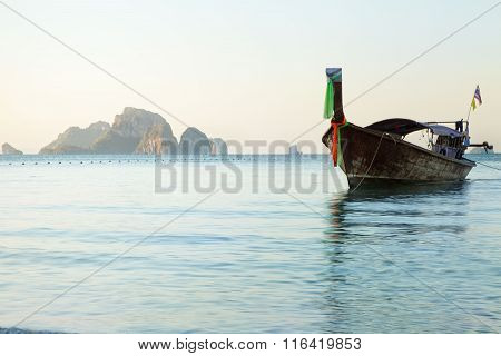 Long Tail Boat In Thailand.