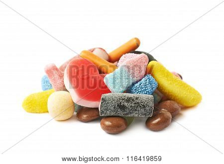 Pile of multiple different candies isolated