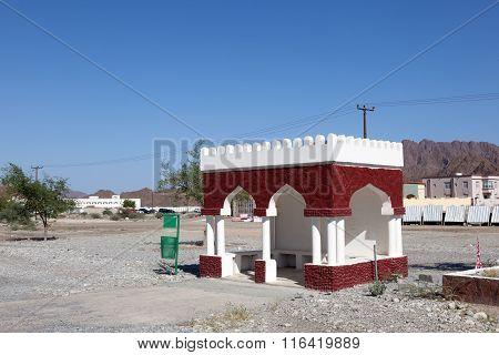 Bus Stop In A Village In Oman