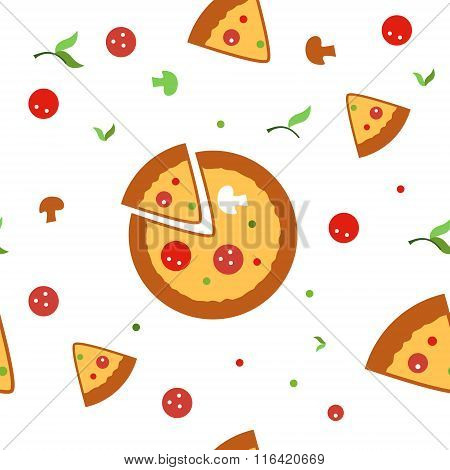 Pizza seamless vector pattern