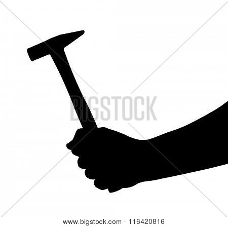 Hand with hammer isolated on white background