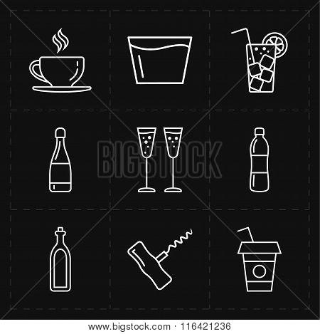 nine modern flat bar icons
