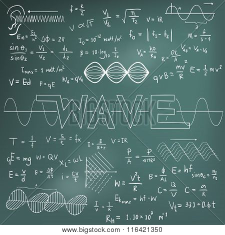 Wave Physics Science Theory Law And Mathematical Formula Equation, Chalk Doodle Handwriting And Freq