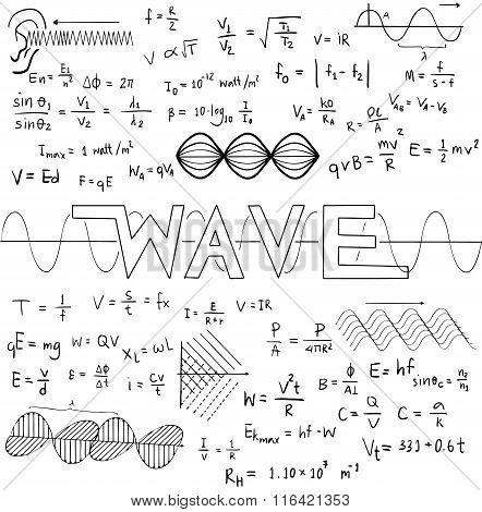 Wave Physics Science Theory Law And Mathematical Formula Equation, Doodle Handwriting And Frequencie