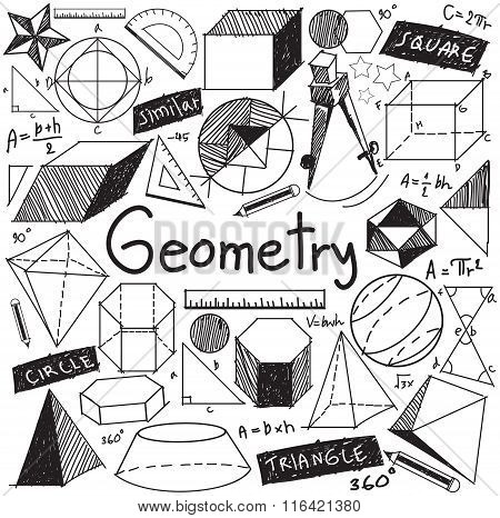 Geometry Math Theory And Mathematical Formula Doodle Handwriting Icon In White Isolated Background W