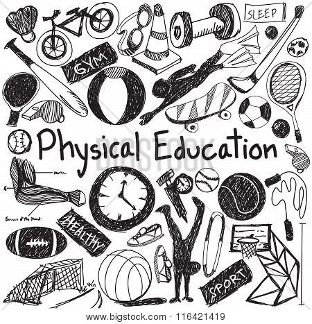 Physical Education Exercise And Gym Education Handwriting Doodle Icon Of Sport Tool Sign And Symbol