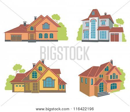 collection of four houses flat illustrations
