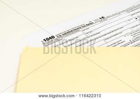 Irs Form 1040, Tax Form Details With Light Background