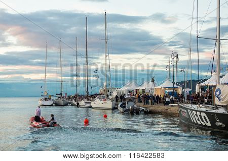 Sailboats during the 47 Barcolana regatta in Trieste gulf