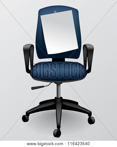 Business chair with paper sheet with we need you message. Contain the Clipping Path