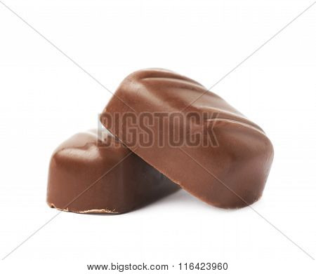 Small chocolate candy bar isolated
